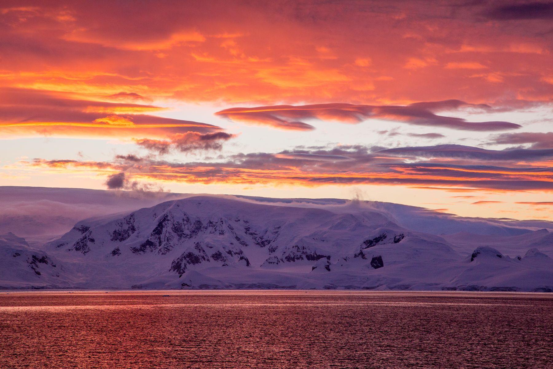 Lemaire Channel sunrise, Antarctica